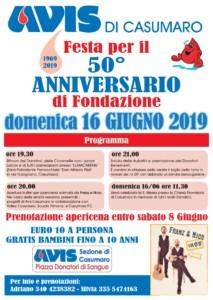 50° Anniversario di fondazione AVIS CASUMARO