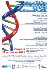 """Convegno """"La ricerca Telethon sulle malattie genetiche del sangue: un focus sull'emofilia"""" @ Cona   Emilia-Romagna   Italia"""